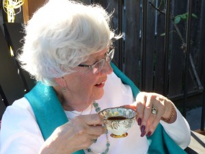 Shelagh-Ann, with one of Barbara's mother's teacups