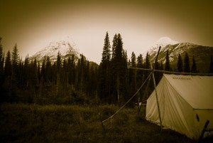 Camp near Mount Leval and Mount Leman, AB