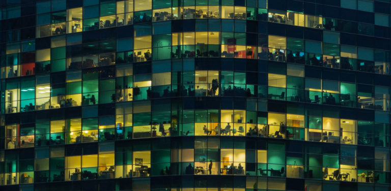Office Workers at Dusk