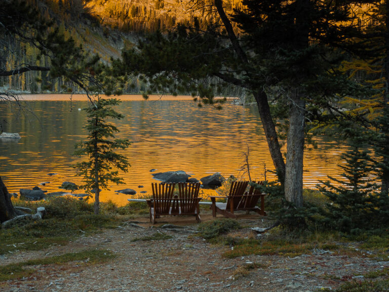 Morning at the lake, with our after-hike chairs!